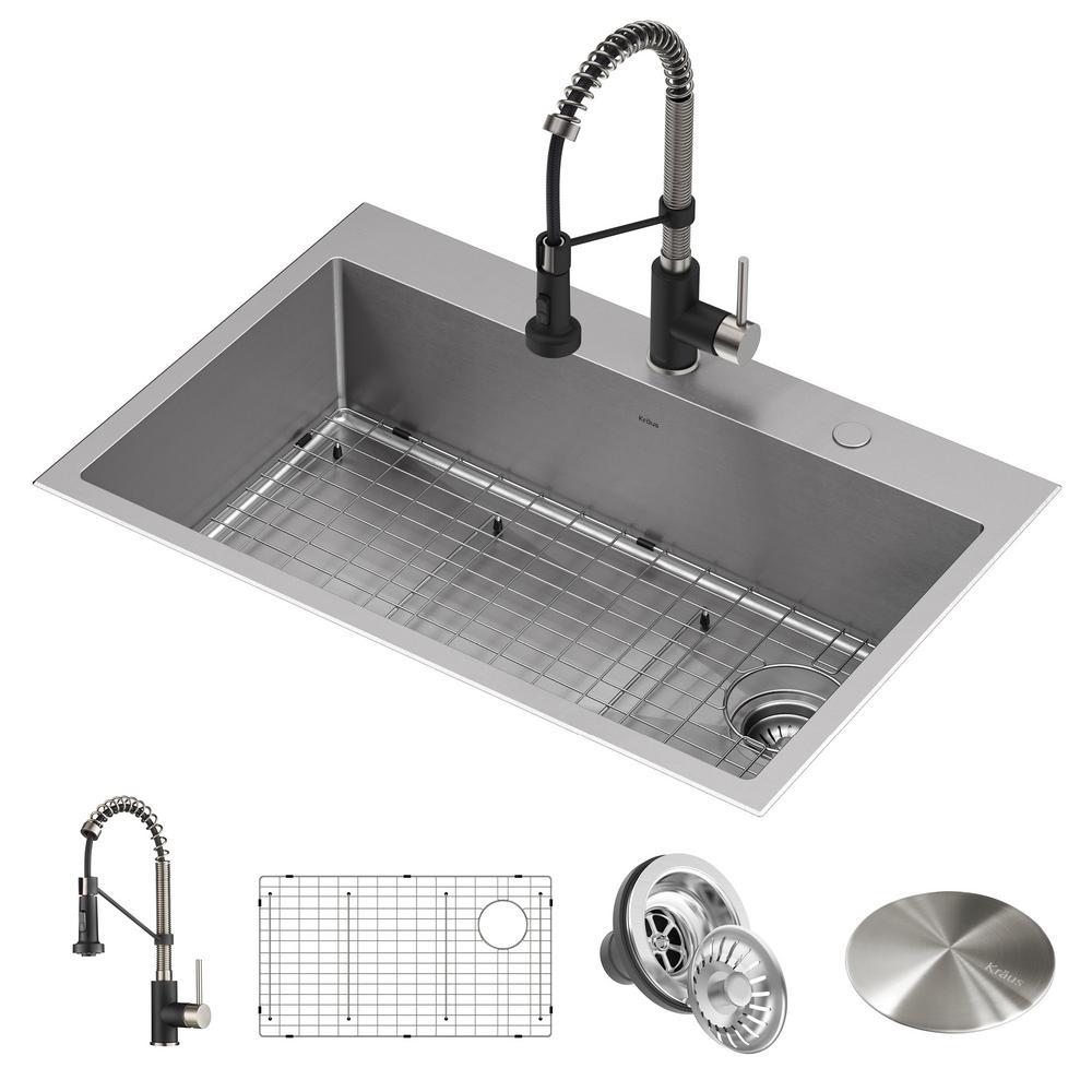 kraus loften all-in-one dual mount stainless steel 33in
