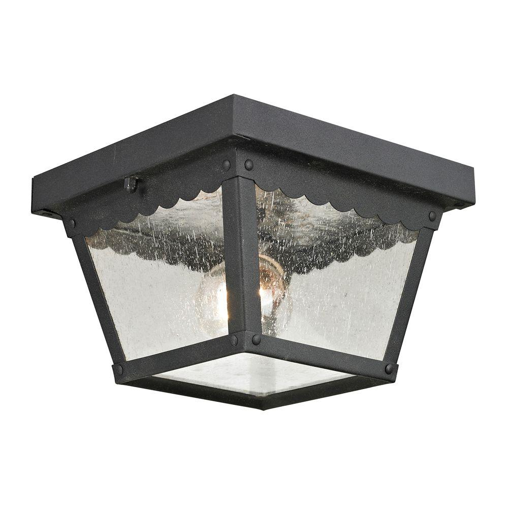 Titan Lighting Springfield 2-Light Matte Textured Black Outdoor Flushmount