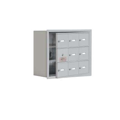 19100 Series 22.75 in. W x 18.75 in. H x 8.75 in. D 8 Doors Cell Phone Locker Recess Mount Keyed Lock in Aluminum