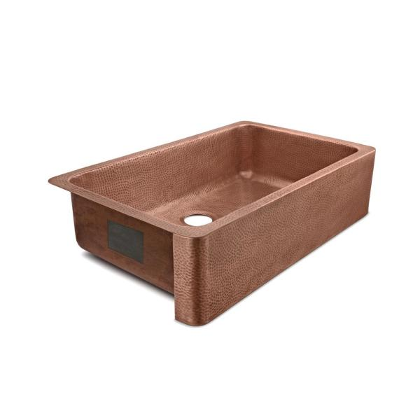 Porter Farmhouse Apron-Front Handmade Copper 36 in. Single Bowl Kitchen Sink in Hammered Antique Copper