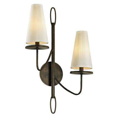 Marcel 2-Light Pompeii Bronze 23.5 in. H Wall Sconce with Off-White Hardback Cotton Shade
