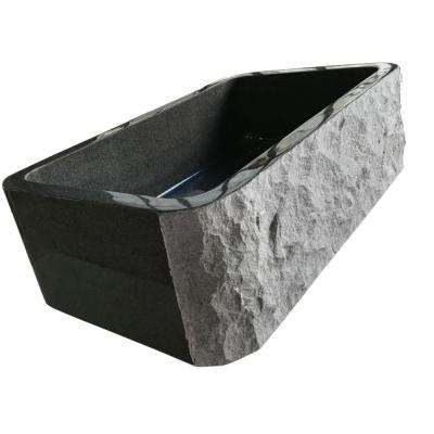 Undermount Farmhouse Stone Sink in Gray Granite
