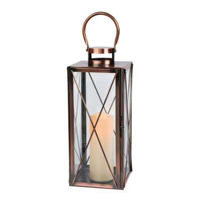 16 in. H Copper Metal LED Lantern