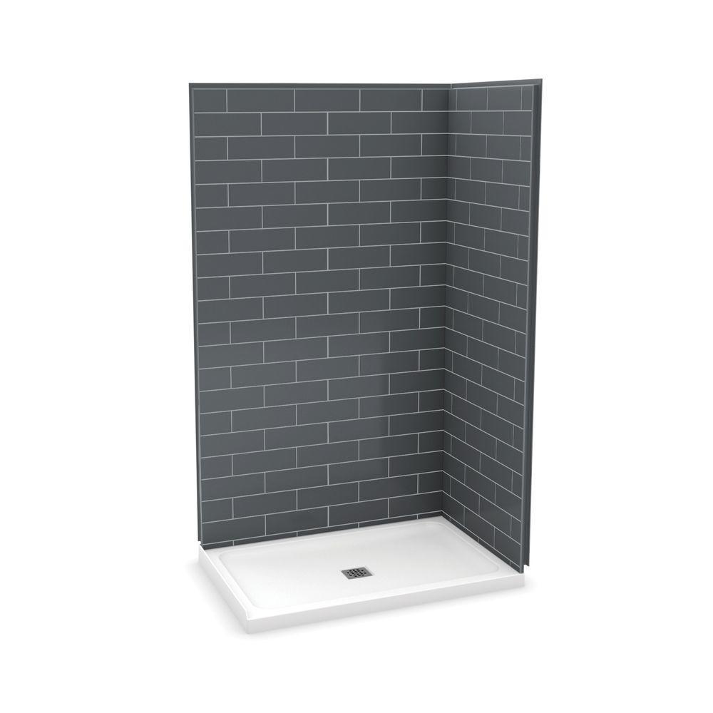 Utile Metro 32 in. x 48 in. x 83.5 in. Corner Shower Stall in Thunder Grey with Center Drain Base in White