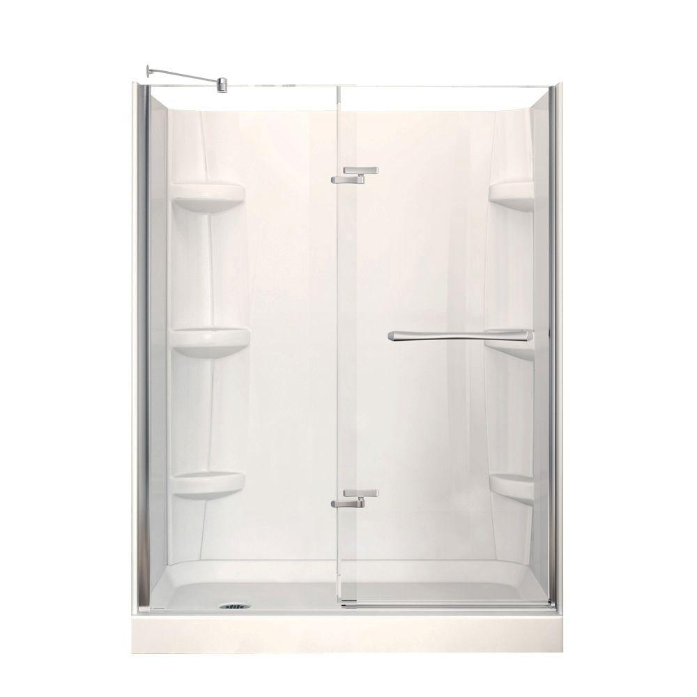 Marvelous Delta Classic 400 32 In. X 60 In. X 74 In. 3 Piece Direct To Stud Shower  Surround In White 40104   The Home Depot