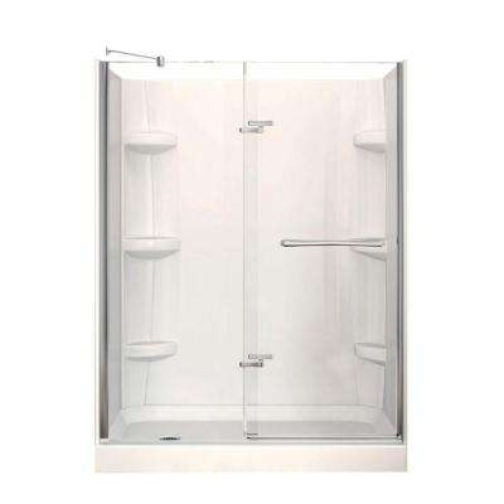 Reveal 30 in. x 60 in. x 76.5 in. Left Drain Alcove Shower Kit in White with Frameless Pivot Shower Door in Chrome