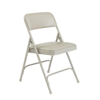 Grey Vinyl Padded Seat Stackable Folding Chair (Set of 4)