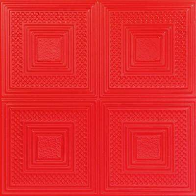 Nested Squares 1.6 ft. x 1.6 ft. Foam Glue-up Ceiling Tile in Red