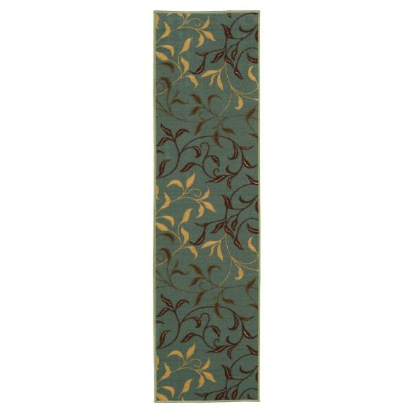 Ottohome Collection Contemporary Leaves Design Seafoam 3 ft. x 10 ft. Runner Rug