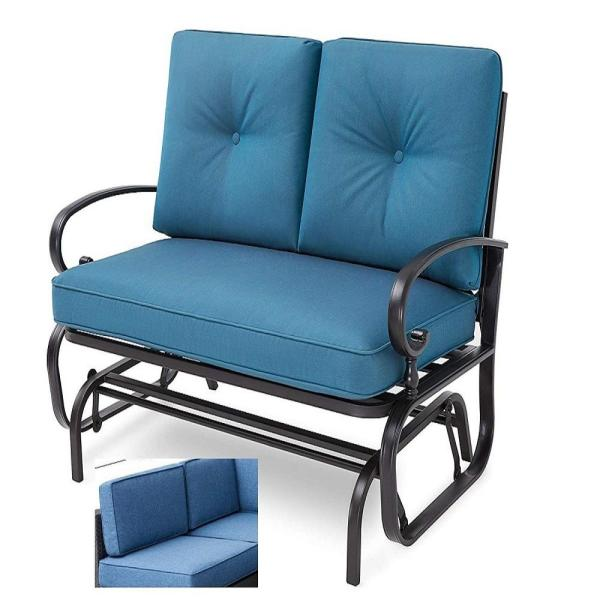Steel Frame Outdoor Patio Rocking Loveseat with Blue Cushions