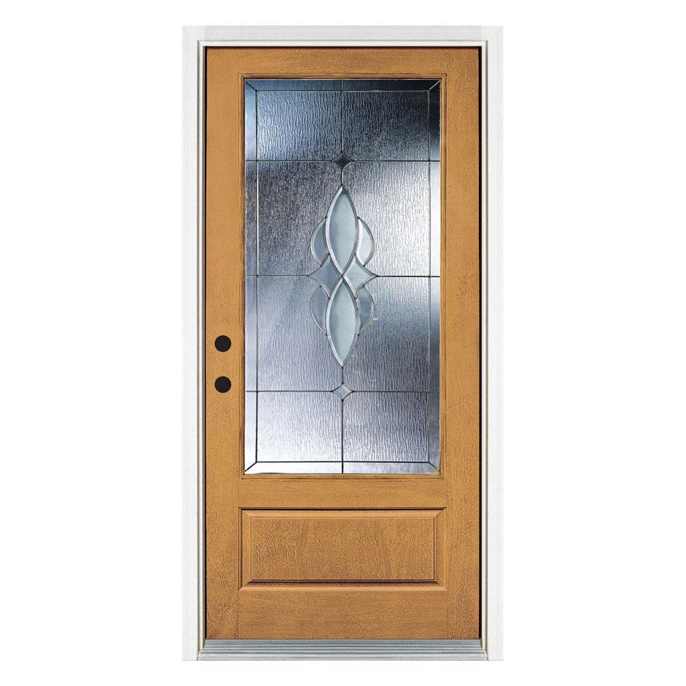 36 in. x 80 in. Scotia Light Oak Right-Hand Inswing 3/4 Lite Decorative Fiberglass Prehung Front Door