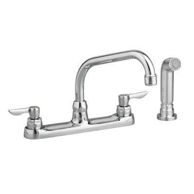 Monterrey 2-Handle Standard Kitchen Faucet with Side Sprayer and 8 in. Reach Gooseneck Swivel Spout in Polished Chrome