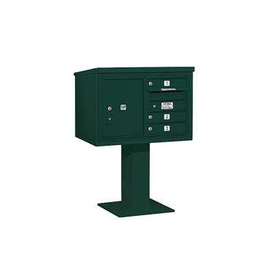 3400 Series 48-1/8 in. 5 Door High Unit Green 4C Pedestal Mailbox with 3 MB1 Doors/1 PL5