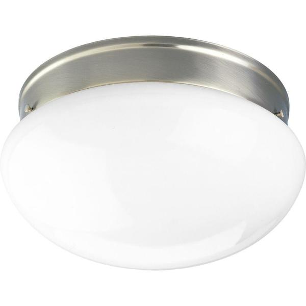 2-Light Brushed Nickel Flush Mount with White Glass