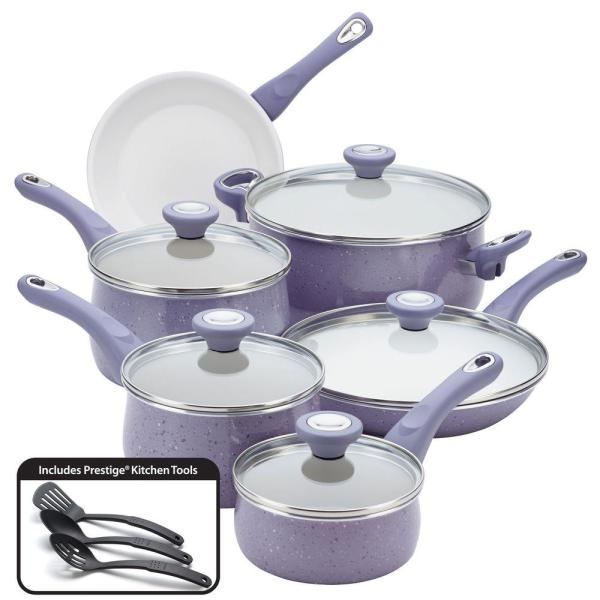 Farberware New Traditions 14-Piece Lavender Cookware Set with Lids 16013