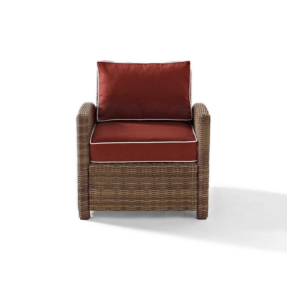 Crosley Bradenton Wicker Outdoor Lounge Chair with Sangria Cushions