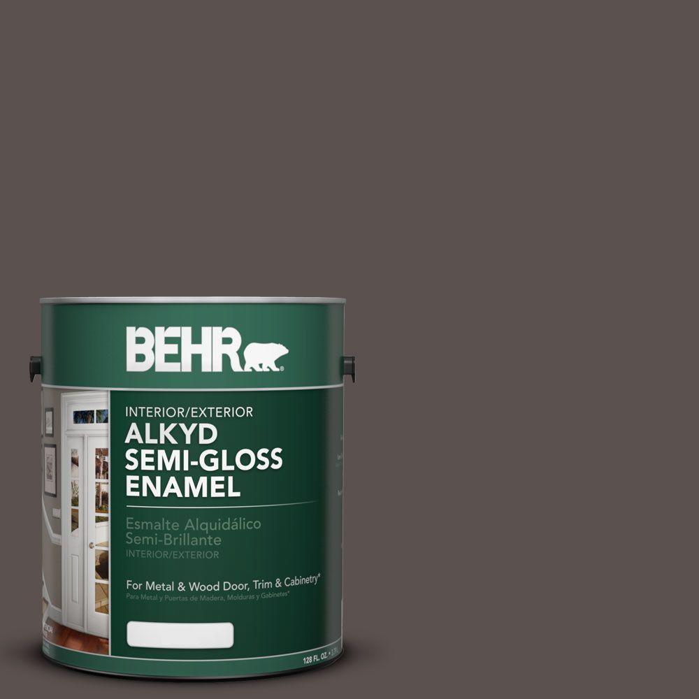 1 gal. #AE-24 Barn Brown Semi-Gloss Enamel Alkyd Interior/Exterior Paint