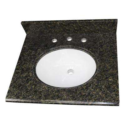 25 in. W x 22 in. D Granite Single Oval Basin Vanity Top in Uba Tuba with 4. Faucet Spread and White Basin