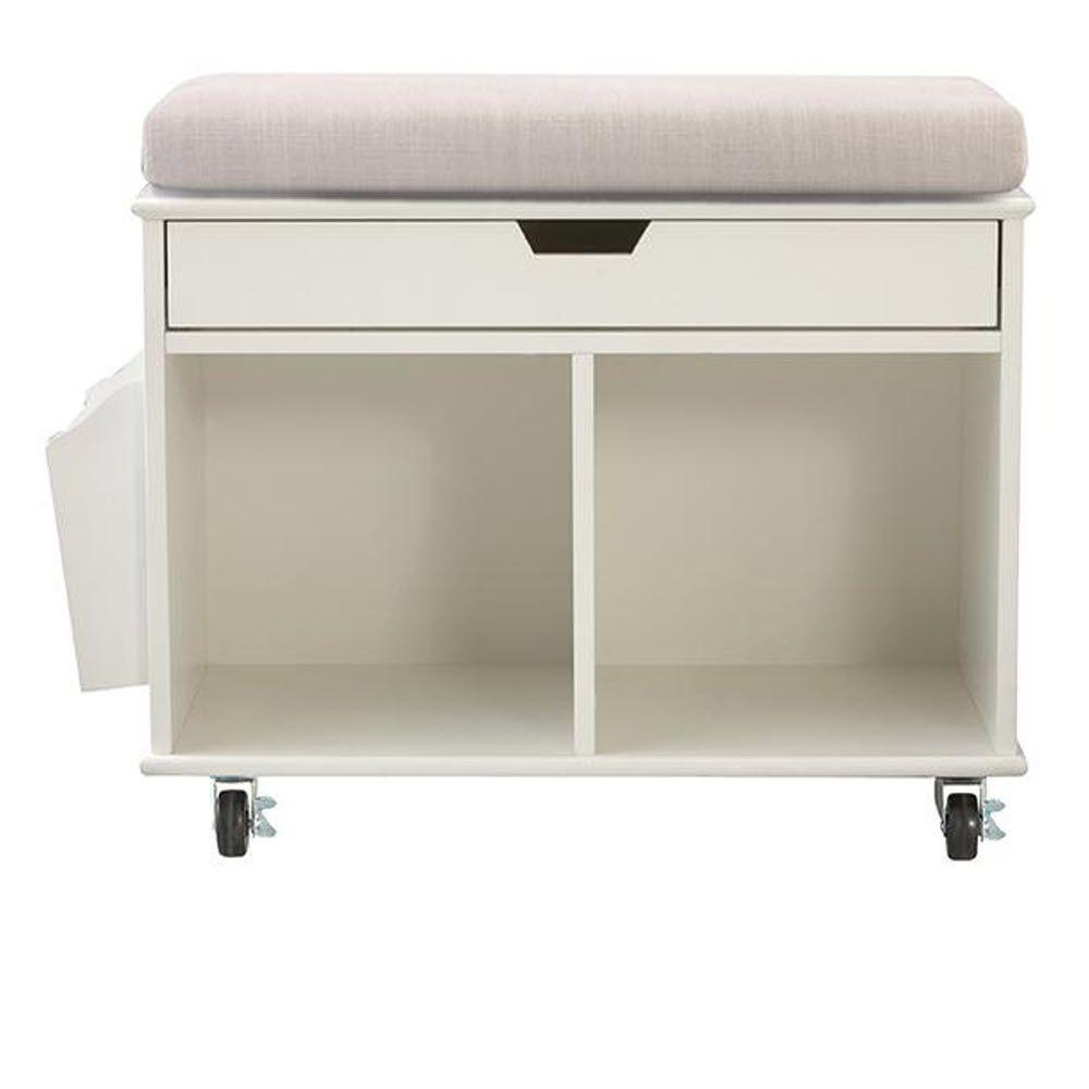 Home Decorators Collection Avery 2-Cube MDF Mobile Cart in White