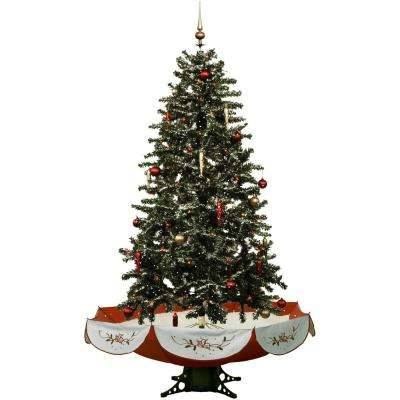 snowing musical christmas tree with red base and snow function