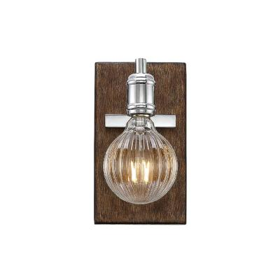 1-Light Polished Nickel with Wood accents Sconce