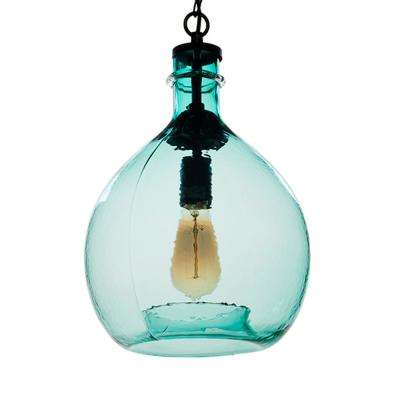 21 in. H and 13 in. W 1-Light Black Wavy Hammered Hand Blown Glass Pendant with Green Glass Shade