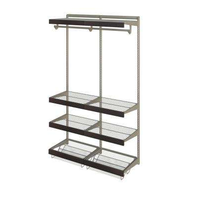 Closet Culture 16 in. x 48 in. W x 78 in. H Wire Closet System with 6 Shelves and Espresso Fascia
