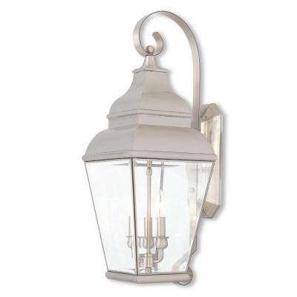 Exeter 3-Light Brushed Nickel Outdoor Wall Mount Lantern