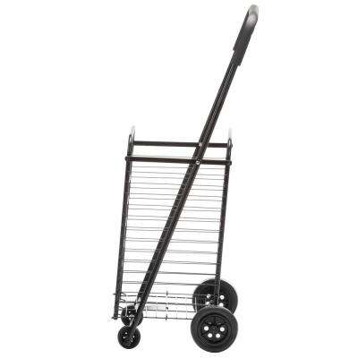 Steel Rolling 4-Wheel Utility Cart in Black