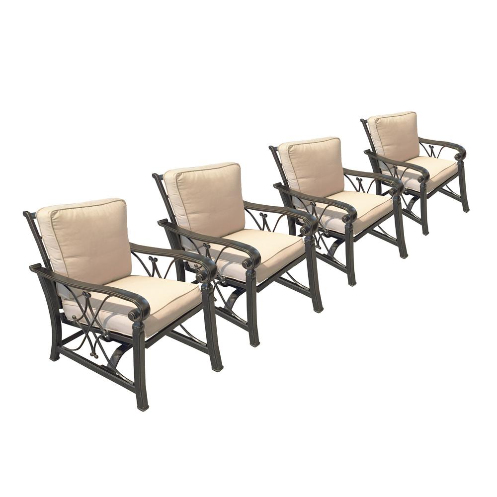 Goldie Metal Outdoor Rocking Chair with Beige Cushion (Pack of 4)