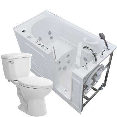 Nova Heated 60 in. Walk-In Whirlpool and Air Bath Tub in White with 1.6 GPF Single Flush Toilet