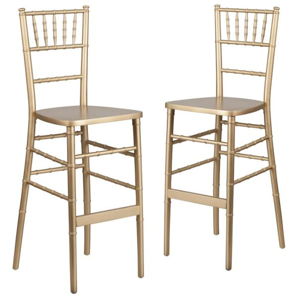 Gold Wood Chiavari Barstools (Set of 2)