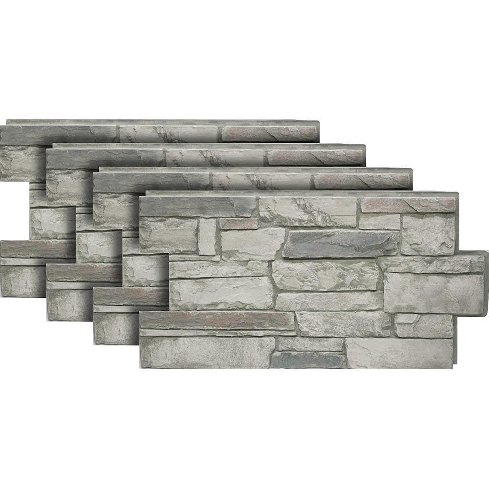 Urestone Ledgestone #60 Cascade Canyon 24 in. x 48 in. Stone Veneer Panel (4-Pack)