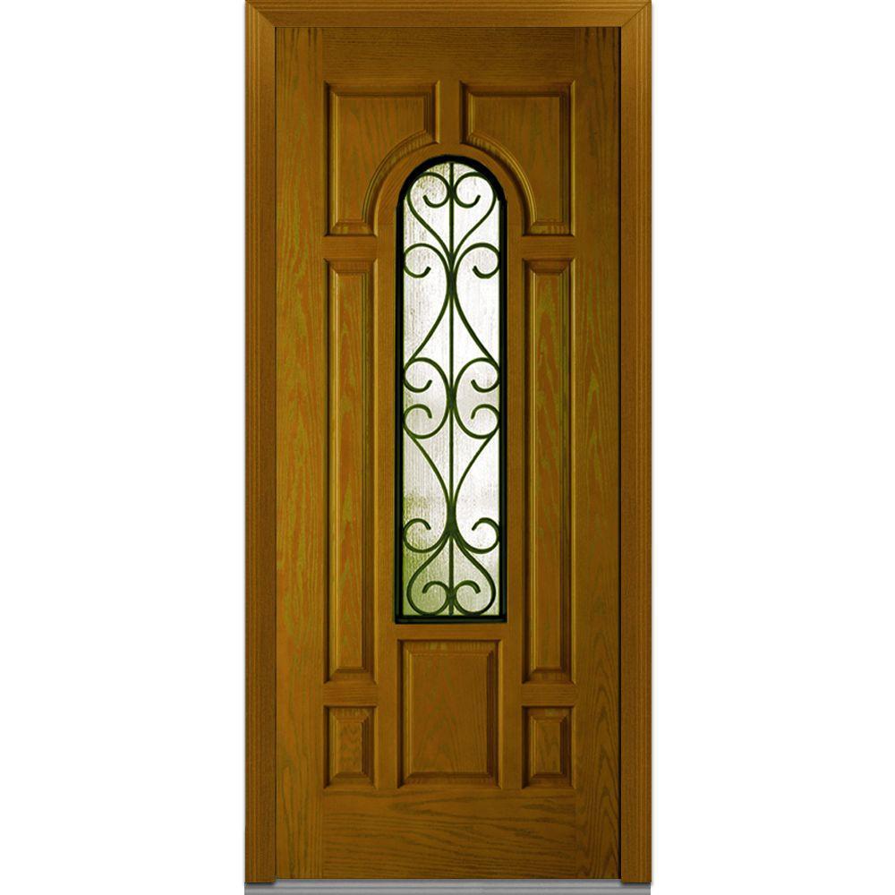 MMI Door 36 in. x 80 in. Camelia Right-Hand 3/4 Lite 7-Panel Midcentury Stained Fiberglass Oak Prehung Front Door