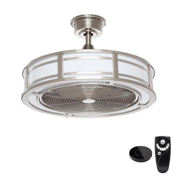 Brette II 23 in LED Brushed Nickel Ceiling Fan with Light and Remote Control works with Google and Alexa