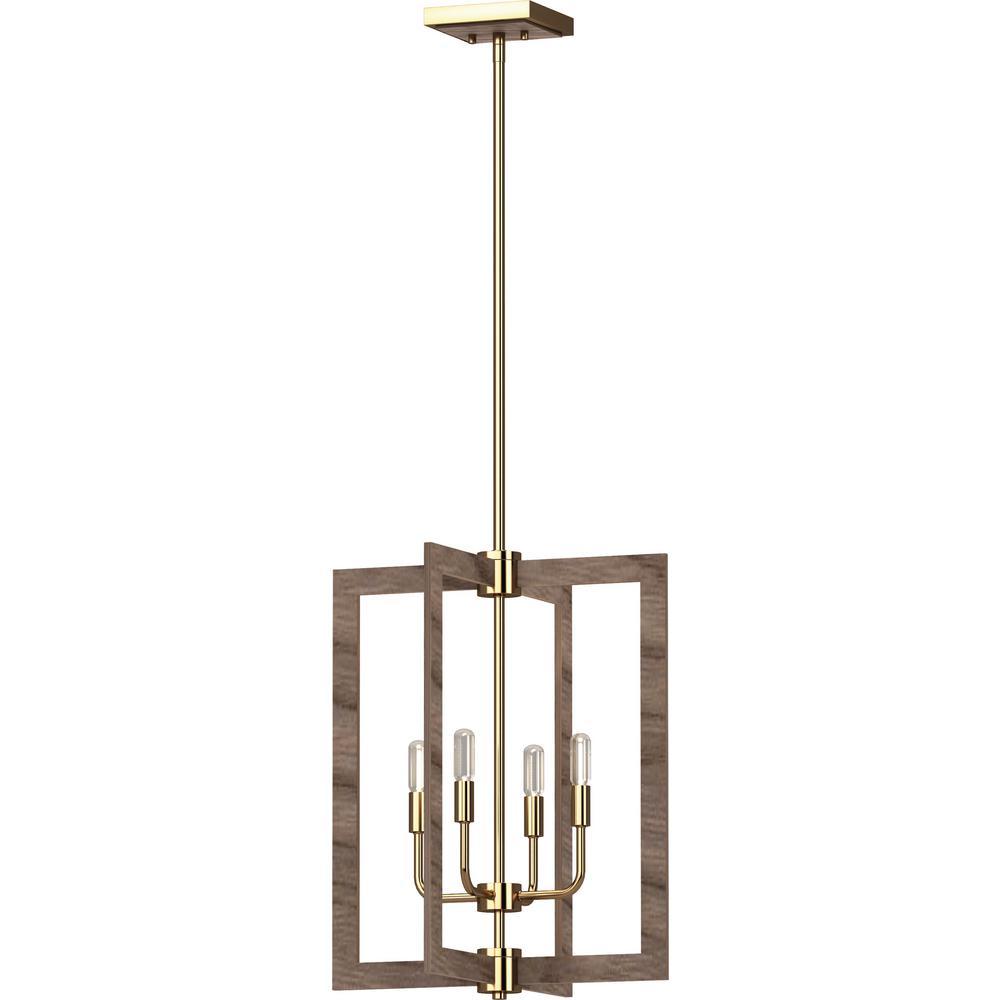 Nina 4-Light Pecan and Antique Gold Indoor Mini Chandelier