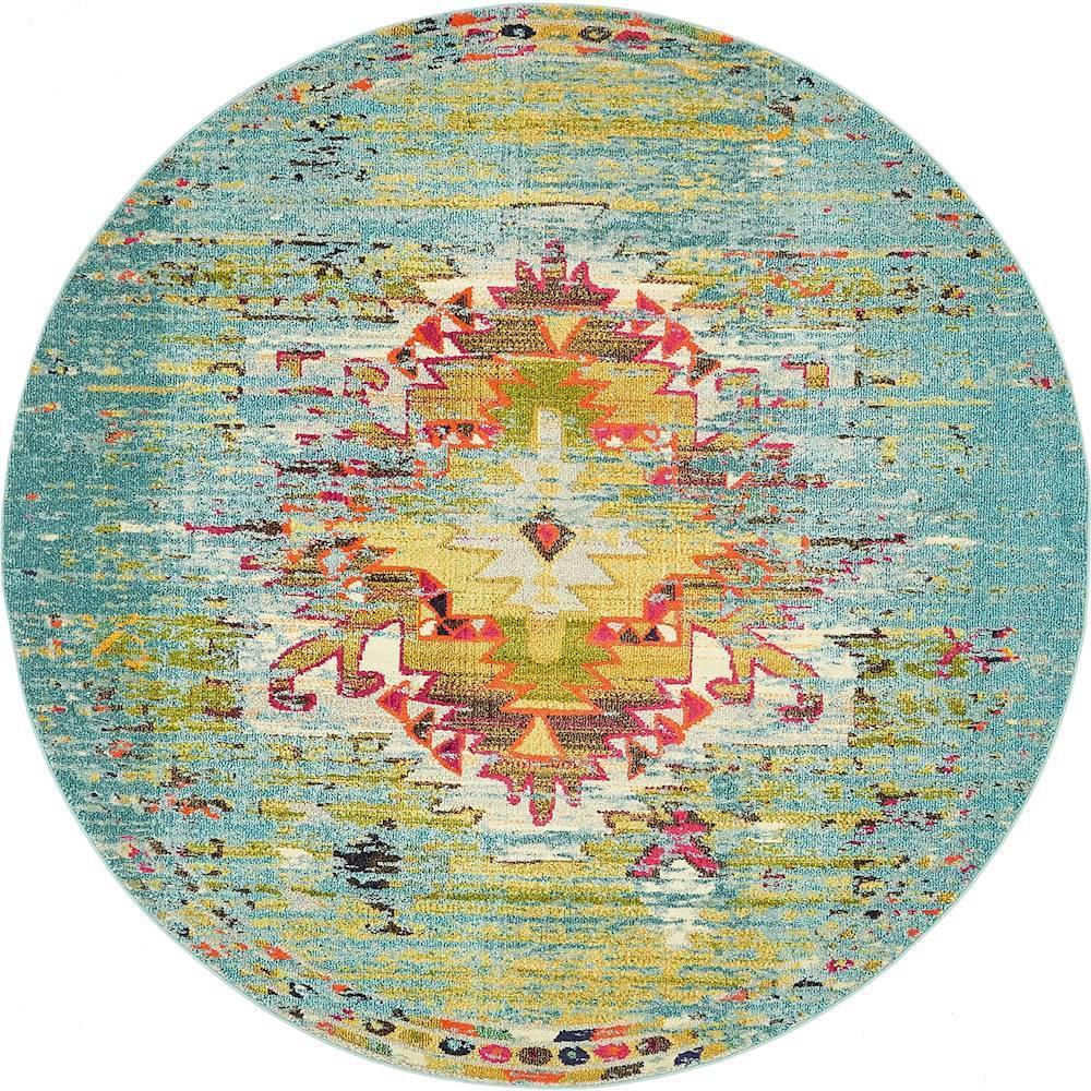 Turquoise Round Area Rug Bindu Bhatia Astrology