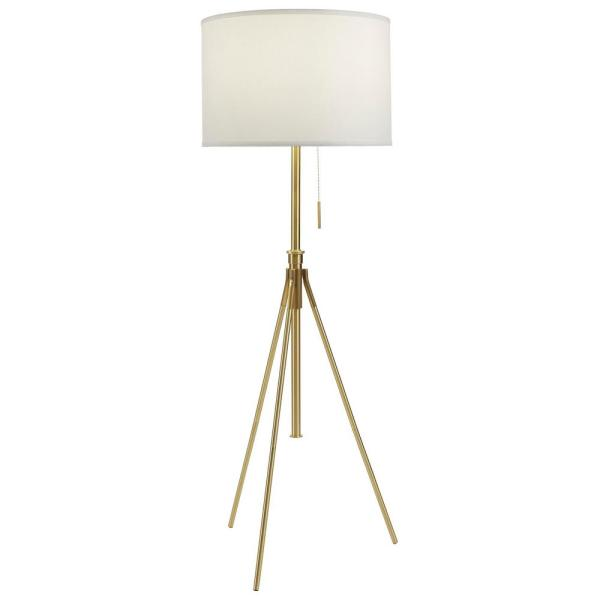 Unbranded 8 In To 72 In H Mid Century Adjustable Tripod Gold Floor Lamp 31171f Sg The Home Depot
