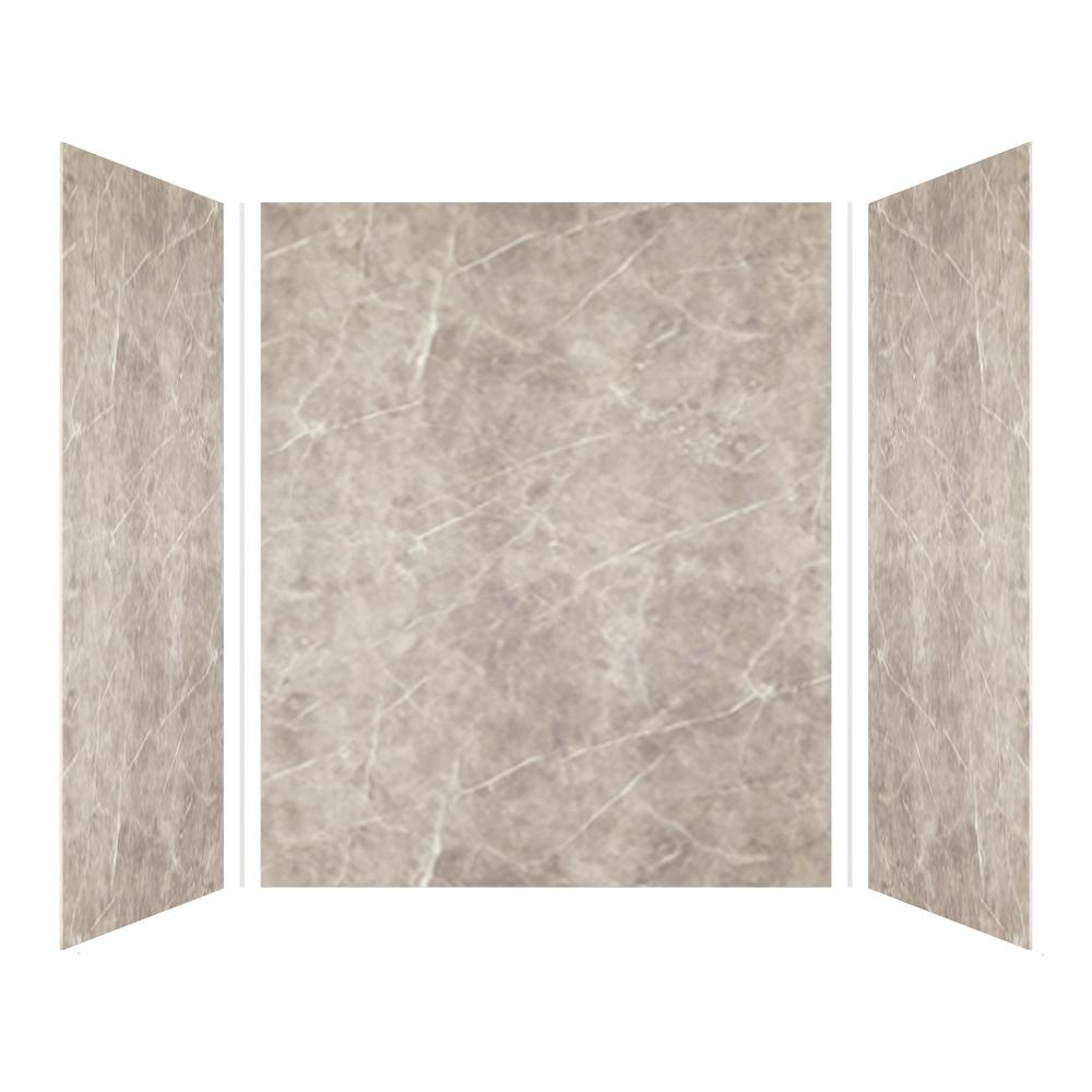 Transolid Expressions 42 in. x 60 in. x 72 in. 3-Piece Easy Up Adhesive Alcove Shower Wall Surround in Dover Stone