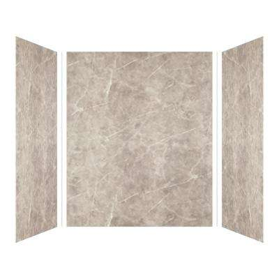 Expressions 42 in. x 60 in. x 72 in. 3-Piece Easy Up Adhesive Alcove Shower Wall Surround in Dover Stone