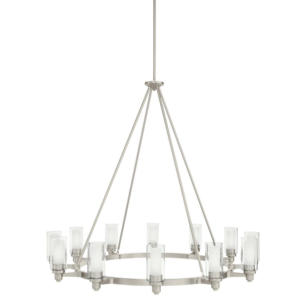 Circolo 12-Light Brushed Nickel Round Chandelier with Clear Outer and Satin Etched Inner Glass Shade