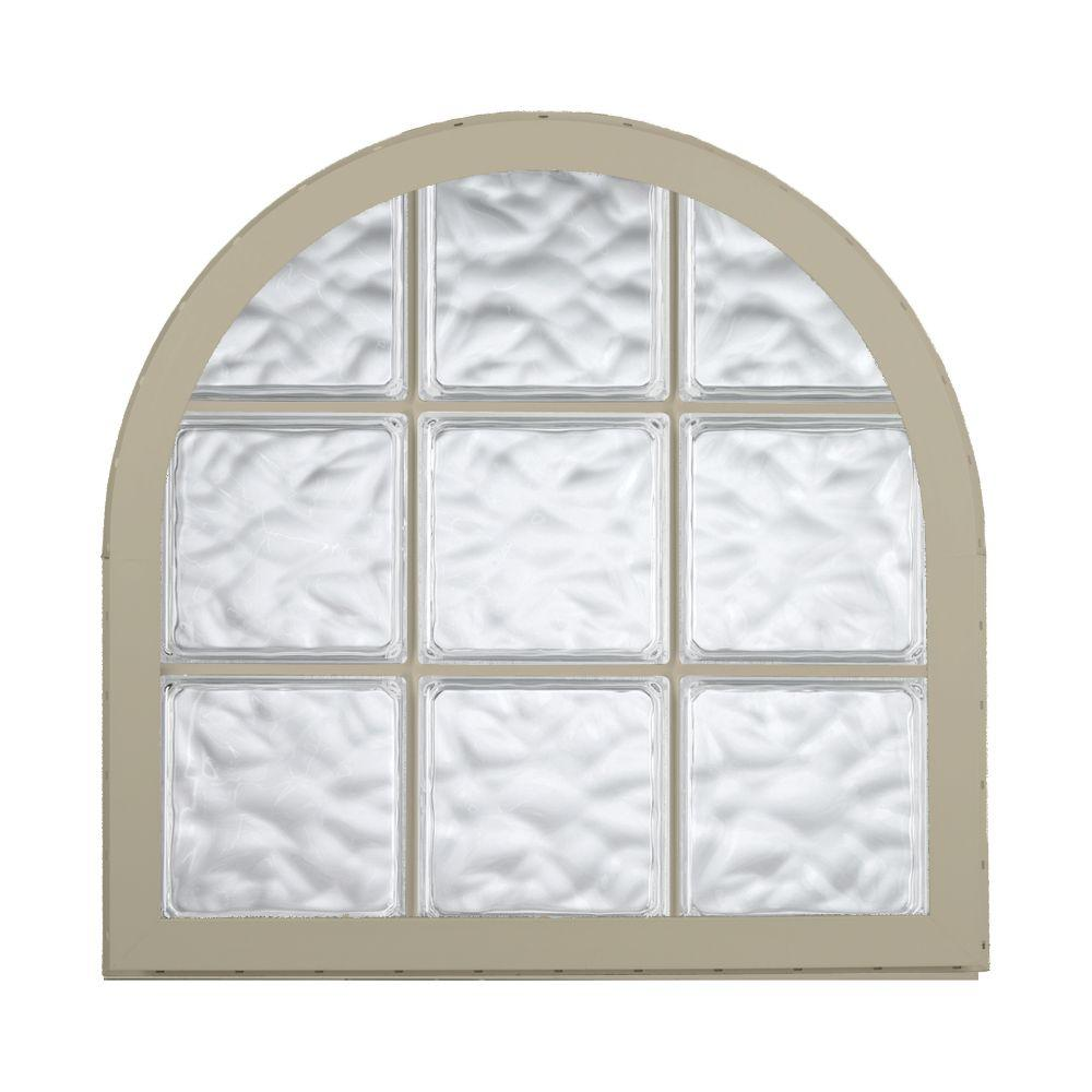 Hy-Lite 42 in. x 50 in. Acrylic Block Round Top Vinyl Window - Tan