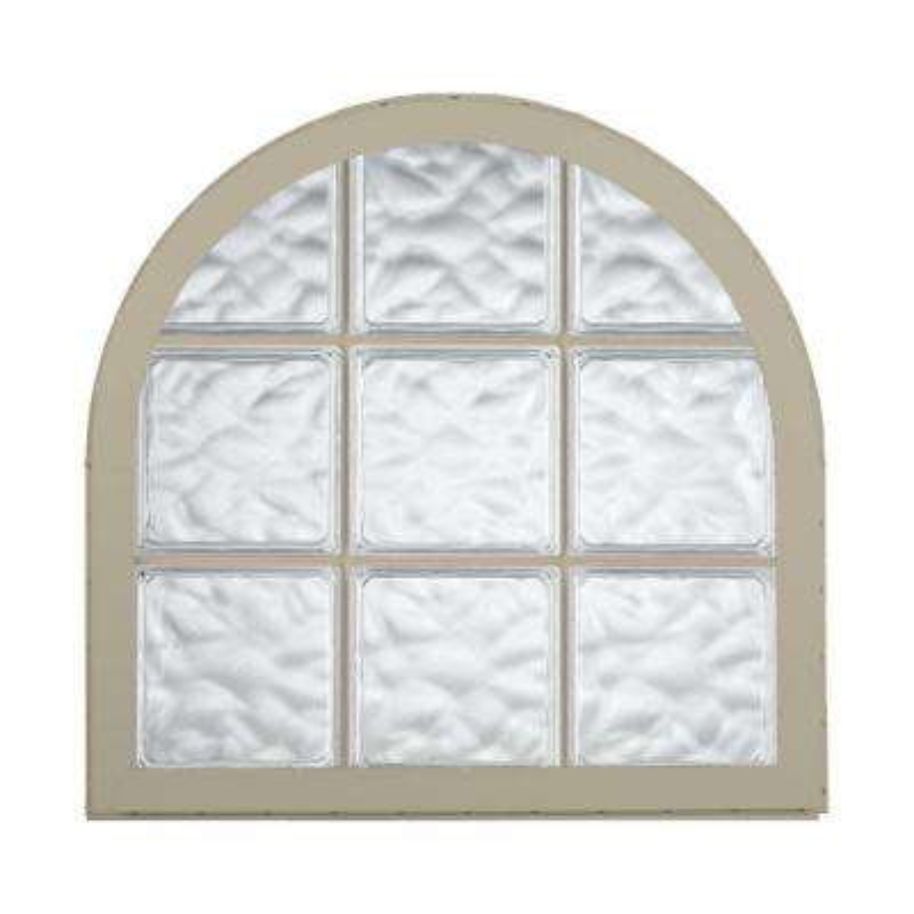 42 in. x 50 in. Acrylic Block Round Top Vinyl Window - Tan