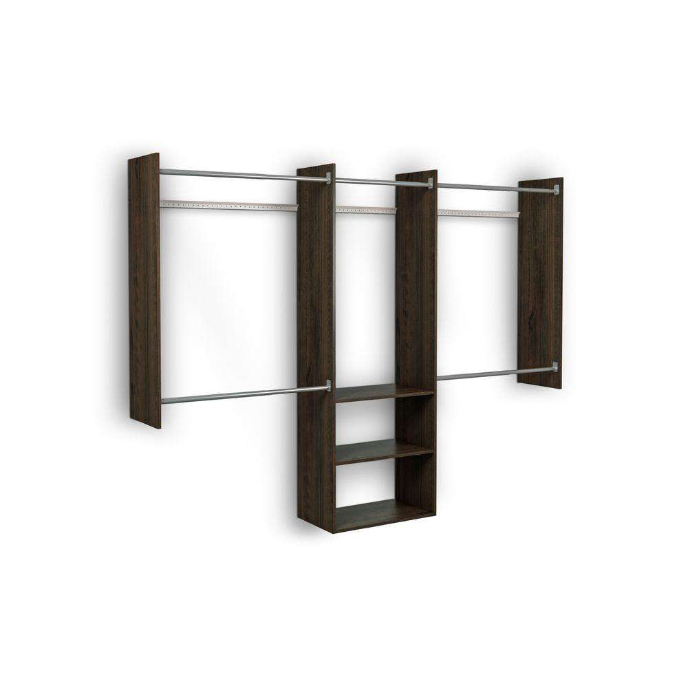 Martha Stewart Living 4 ft. - 8 ft. 14 in. D x 96 in. W x 72 in. H Espresso Deluxe Starter Wood Closet System Kit