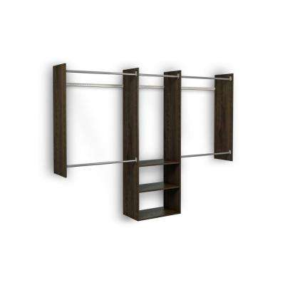 4 ft. - 8 ft. 14 in. D x 96 in. W x 72 in. H Espresso Deluxe Starter Wood Closet System Kit