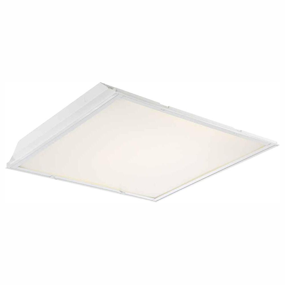 2 ft. x 2 ft. 96-Watt Equivalent White Lens Integrated LED Commercial Grid Ceiling Troffer