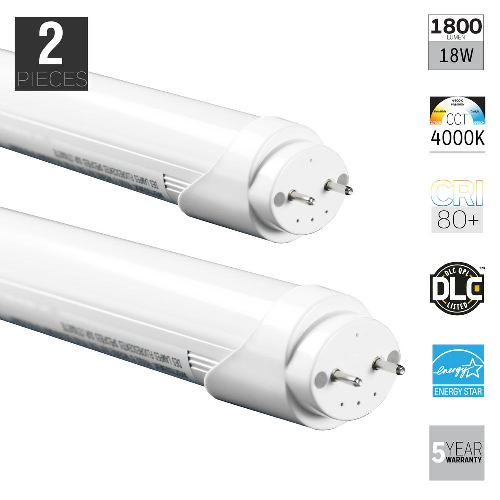 18W T8 Nature White Linear Fluorescent Light Bulb ( 2-Pack)