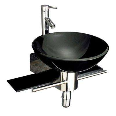 Palasa Wall-Mounted Bathroom Sink in Black