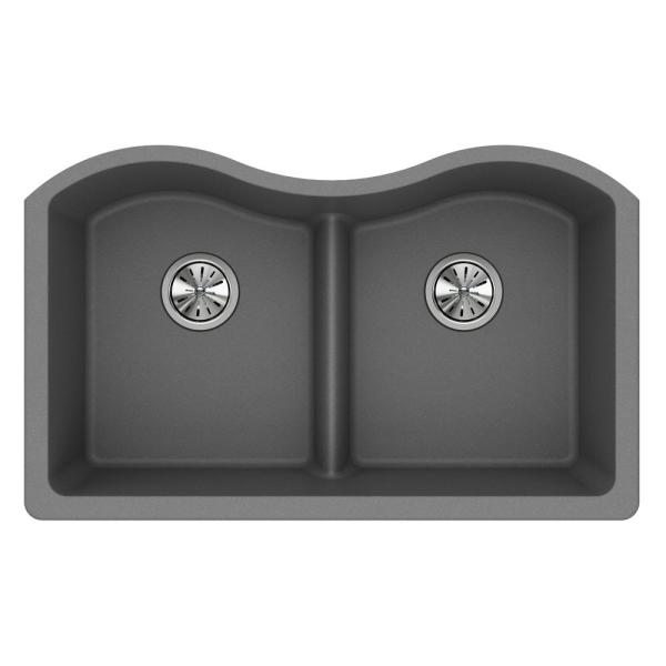 Quartz Classic Undermount Composite 33 in. Rounded 50/50 Double Bowl Kitchen Sink in Greystone