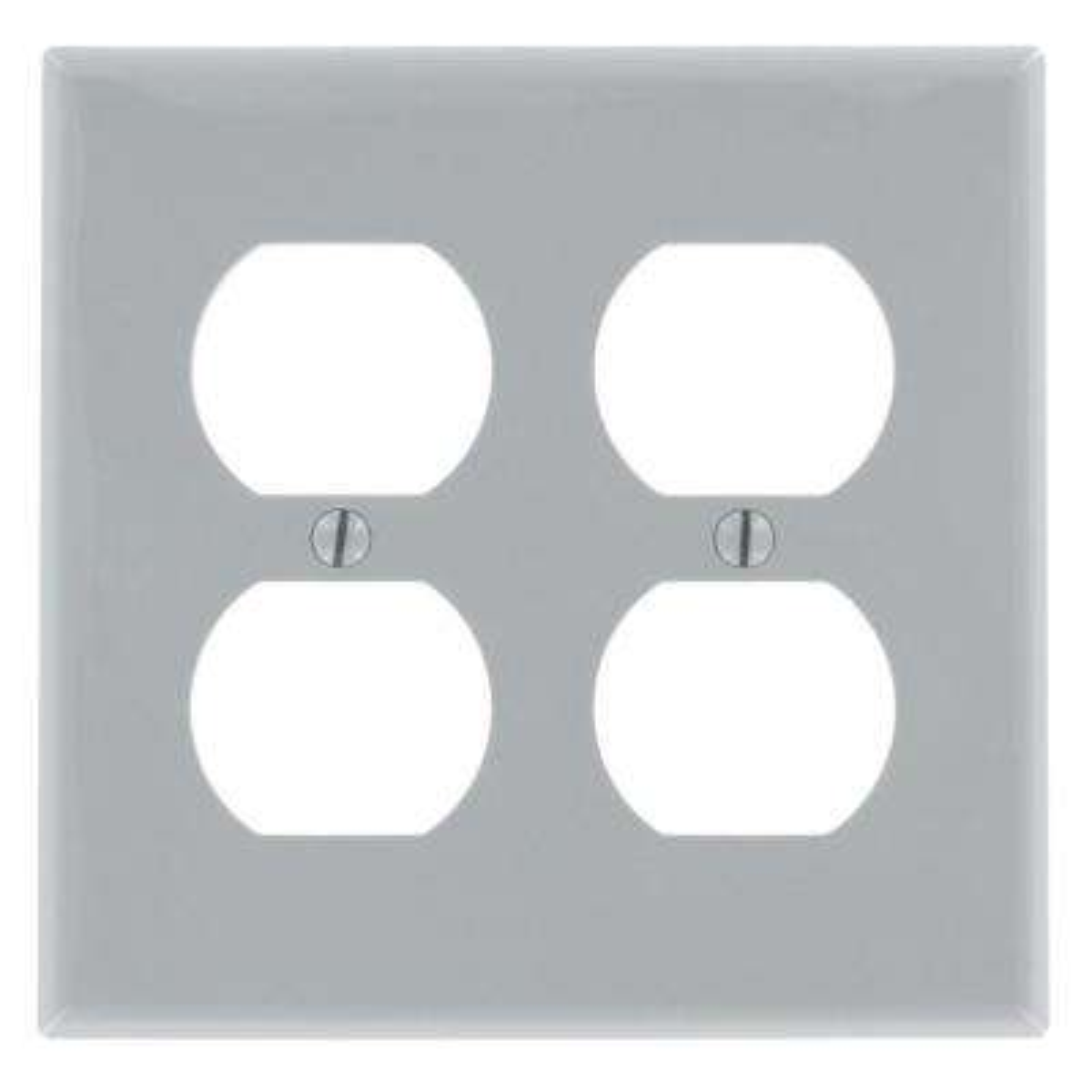 2-Gang Standard Size 2-Duplex Receptacles Nylon Wallplate, Gray